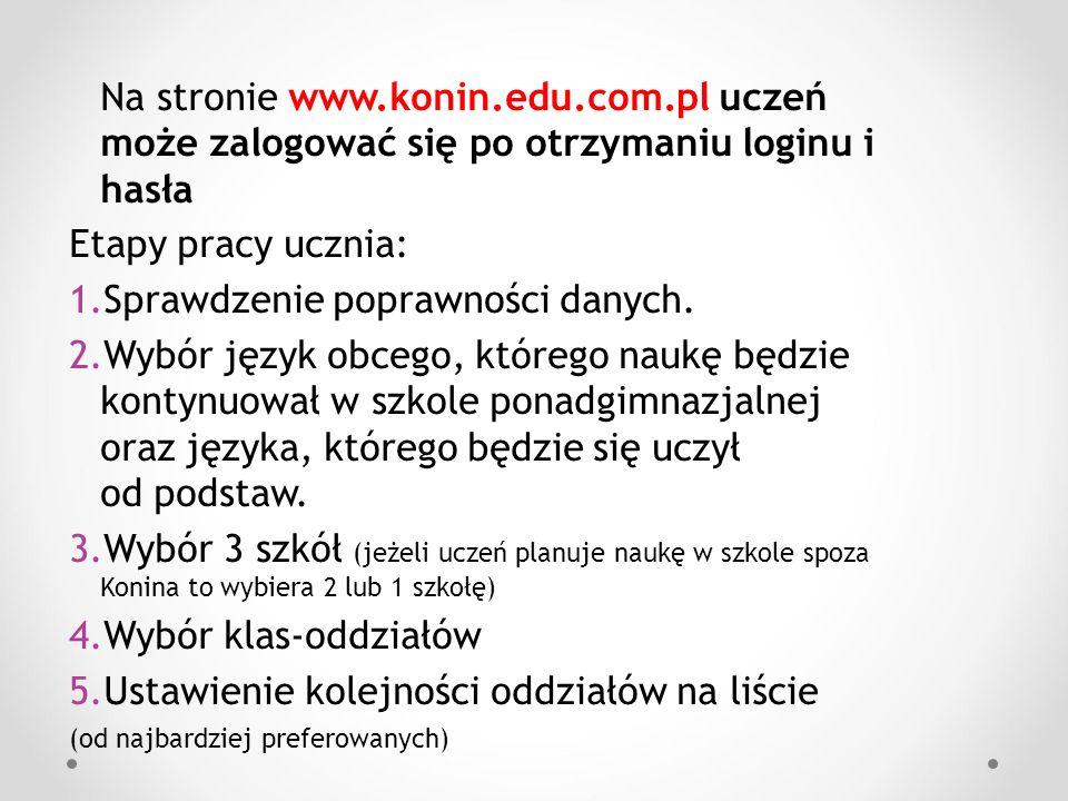 Na stronie www.konin.edu.com.pl uczeń może zalogować się po otrzymaniu loginu i hasła Etapy pracy ucznia: 1.Sprawdzenie poprawności danych. 2.Wybór ję