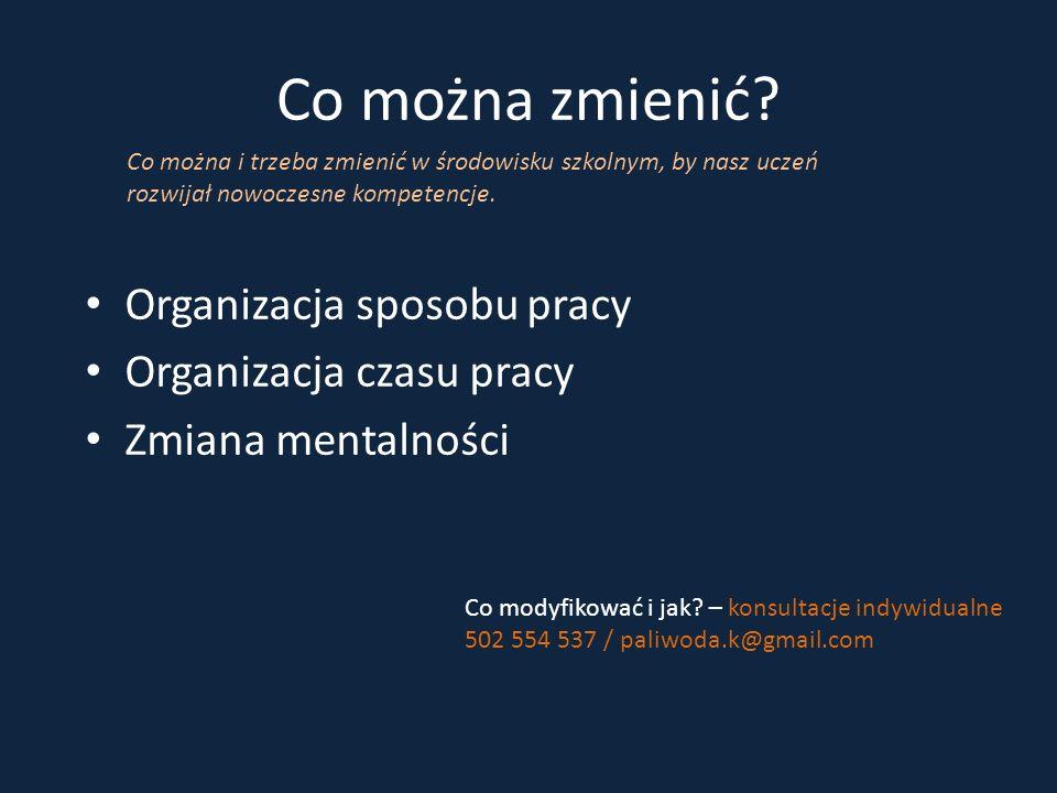 Co można zmienić? Organizacja sposobu pracy Organizacja czasu pracy Zmiana mentalności Co można i trzeba zmienić w środowisku szkolnym, by nasz uczeń