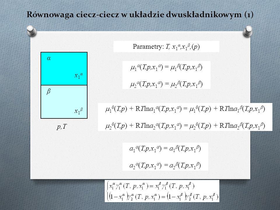 Równowaga ciecz-ciecz w układzie dwuskładnikowym (1) p,T  1  (T,p,x 1  ) =  1  (T,p,x 1  )  2  (T,p,x 1  ) =  2  (T,p,x 1  ) a 1  (T,p,x 1  ) = a 1  (T,p,x 1  ) a 2  (T,p,x 1  ) = a 2  (T,p,x 1  ) x1αx1α x1βx1β α β  1 0 (T,p) + RTlna 1  (T,p,x 1  ) =  1 0 (T,p) + RTlna 1  (T,p,x 1  )  2 0 (T,p) + RTlna 2  (T,p,x 1  ) =  2 0 (T,p) + RTlna 2  (T,p,x 1  ) Parametry: T, x 1 α,x 1 β,(p)