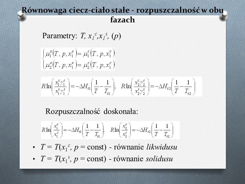 Równowaga ciecz-ciało stałe - rozpuszczalność w obu fazach T = T(x 1 c, p = const) - równanie likwidusu T = T(x 1 s, p = const) - równanie solidusu Parametry: T, x 1 c,x 1 s, (p) Rozpuszczalność doskonała: