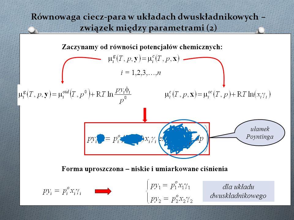 Równowaga ciecz-para w układach dwuskładnikowych – związek między parametrami (2) ułamek Poyntinga Forma uproszczona – niskie i umiarkowane ciśnienia dla układu dwuskładnikowego Zaczynamy od równości potencjałów chemicznych: i = 1,2,3,…,n