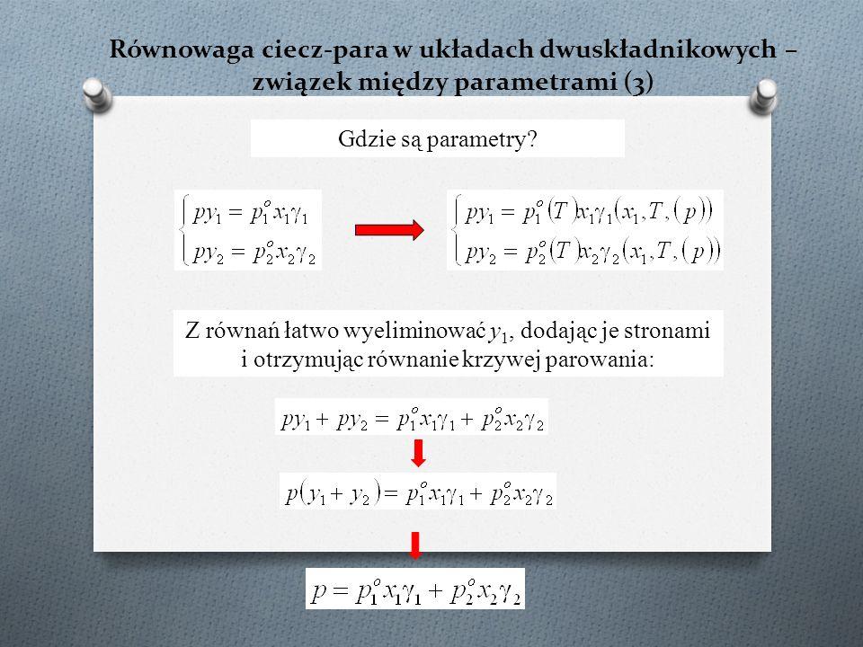Równowaga ciecz-para w układach dwuskładnikowych – związek między parametrami (3) Z równań łatwo wyeliminować y 1, dodając je stronami i otrzymując równanie krzywej parowania: Gdzie są parametry