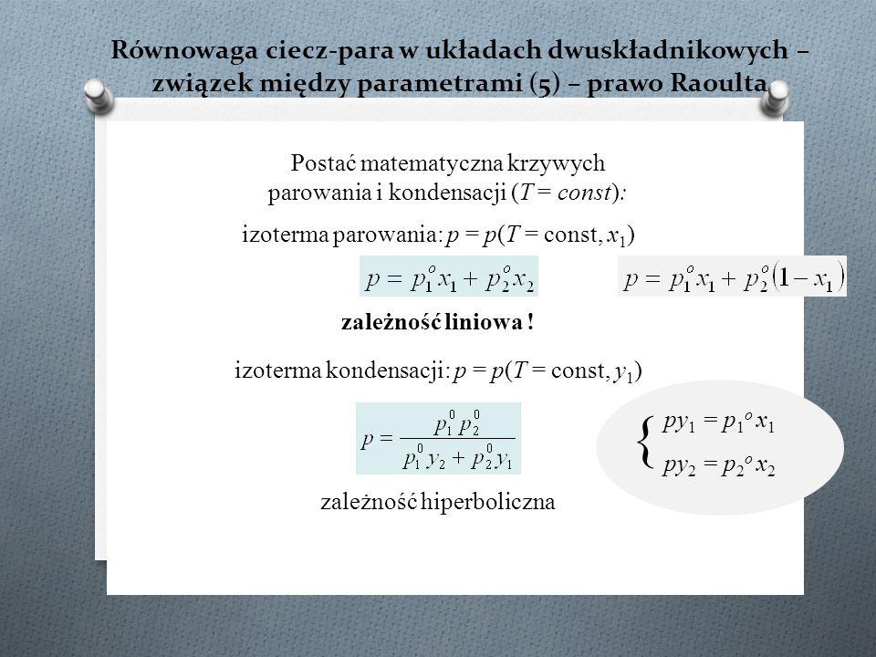 Równowaga ciecz-para w układach dwuskładnikowych – związek między parametrami (5) – prawo Raoulta Postać matematyczna krzywych parowania i kondensacji (T = const): izoterma parowania: p = p(T = const, x 1 ) zależność liniowa .