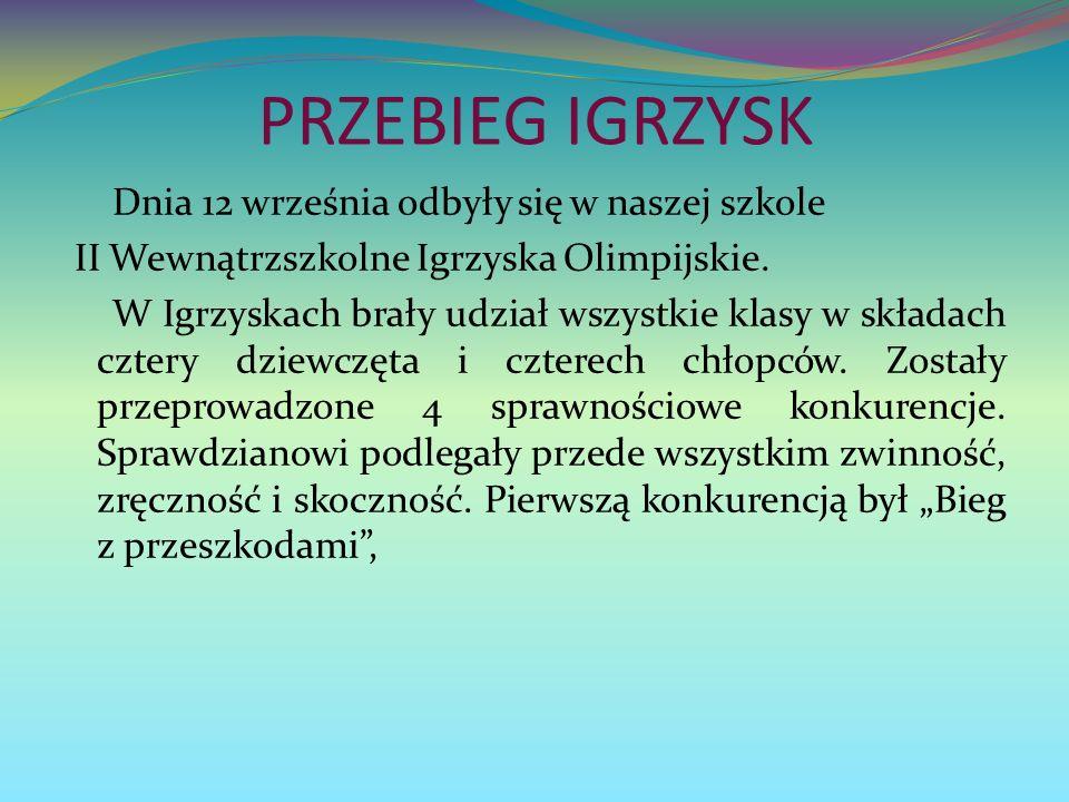 PRZEBIEG IGRZYSK Dnia 12 września odbyły się w naszej szkole II Wewnątrzszkolne Igrzyska Olimpijskie.