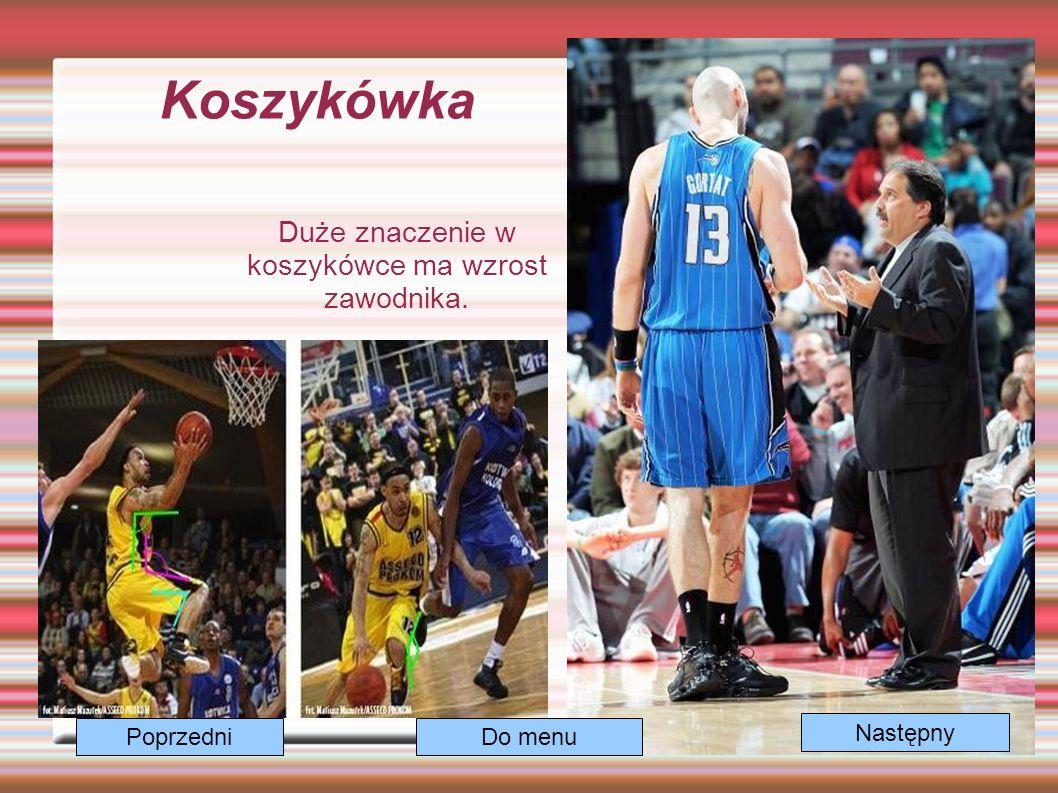 Koszykówka Duże znaczenie w koszykówce ma wzrost zawodnika. Następny Do menuPoprzedni