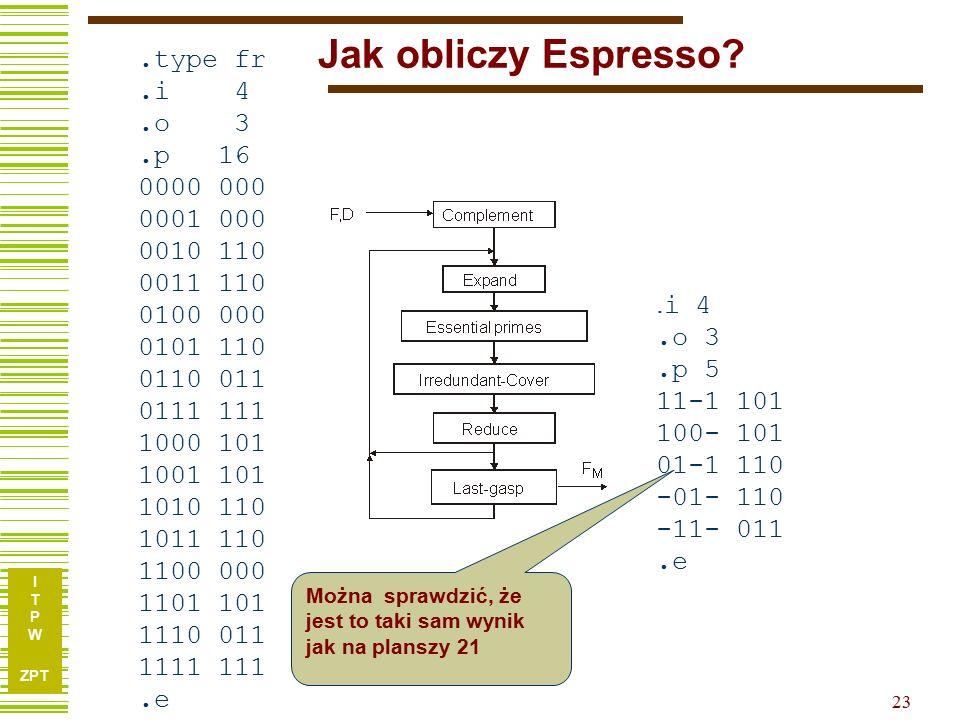 I T P W ZPT 23 Jak obliczy Espresso?.type fr.i 4.o 3.p 16 0000 000 0001 000 0010 110 0011 110 0100 000 0101 110 0110 011 0111 111 1000 101 1001 101 1010 110 1011 110 1100 000 1101 101 1110 011 1111 111.e.