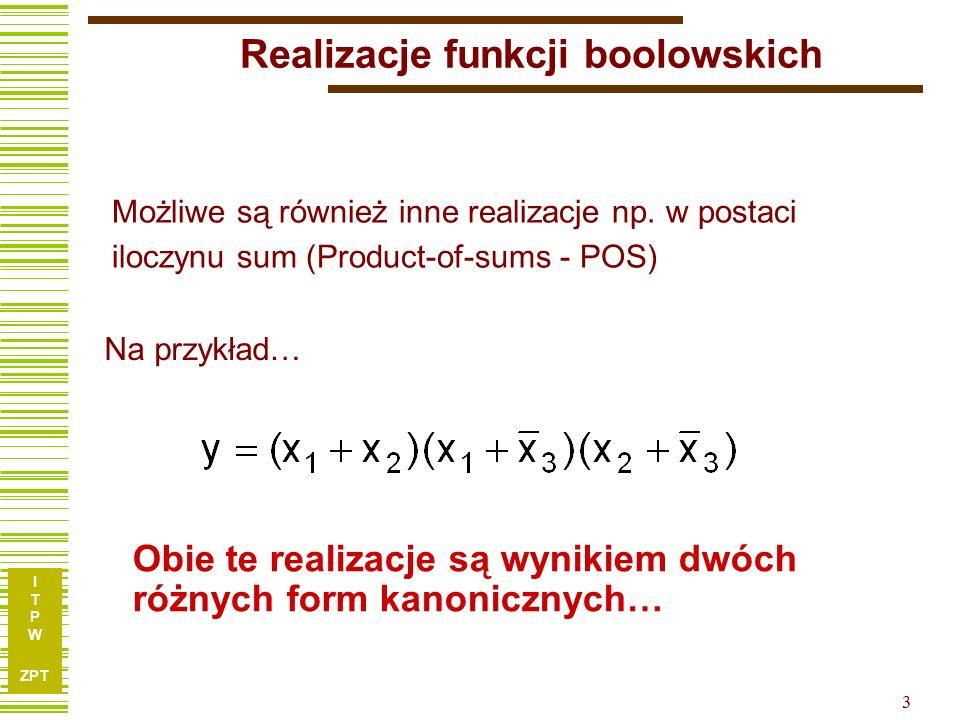 I T P W ZPT 3 Realizacje funkcji boolowskich Obie te realizacje są wynikiem dwóch różnych form kanonicznych… Możliwe są również inne realizacje np. w
