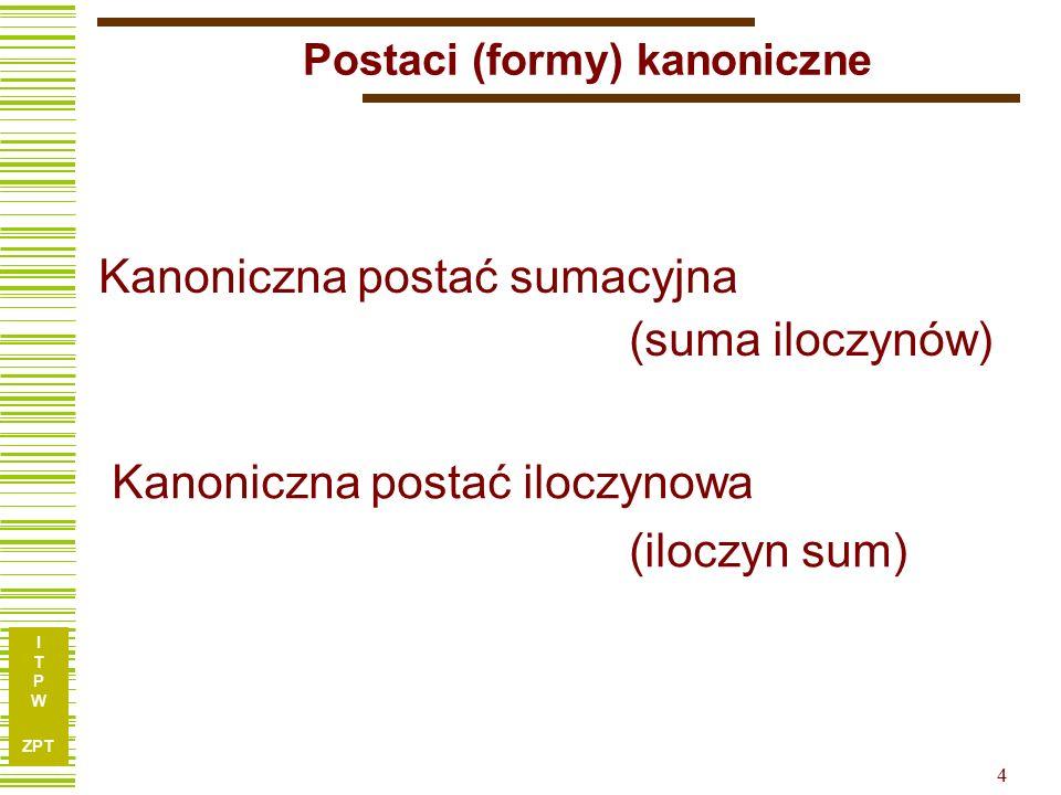 I T P W ZPT 5 Kanoniczna postać sumacyjna x1x1 x2x2 x3x3 f 00000 10011 20100 30111 41000 51011 61101 71111 Minterm