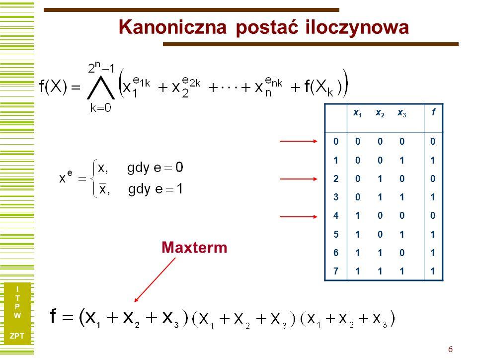 I T P W ZPT 6 Kanoniczna postać iloczynowa x1x1 x2x2 x3x3 f 00000 10011 20100 30111 41000 51011 61101 71111 Maxterm