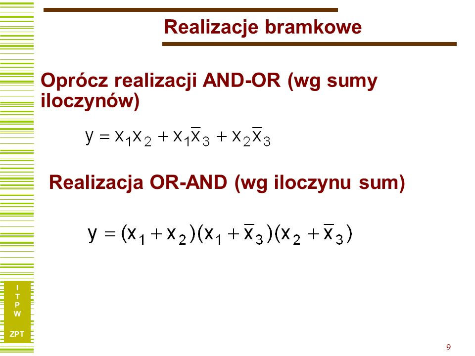 I T P W ZPT 20 Przykład 4.7 ze skryptu Synteza logiczna y 1 =  (2,3,5,7,8,9,10,11,13,15) y 2 =  (2,3,5,6,7,10,11,14,15) y 3 =  (6,7,8,9,13,14,15) …wymagać będzie 7 bramek AND w którym bezpośrednia minimalizacja: