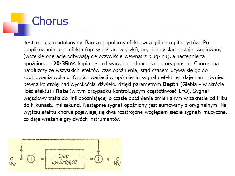 Jest to efekt modulacyjny. Bardzo popularny efekt, szczególnie u gitarzystów. Po zaaplikowaniu tego efektu (np. w postaci wtyczki), oryginalny ślad zo
