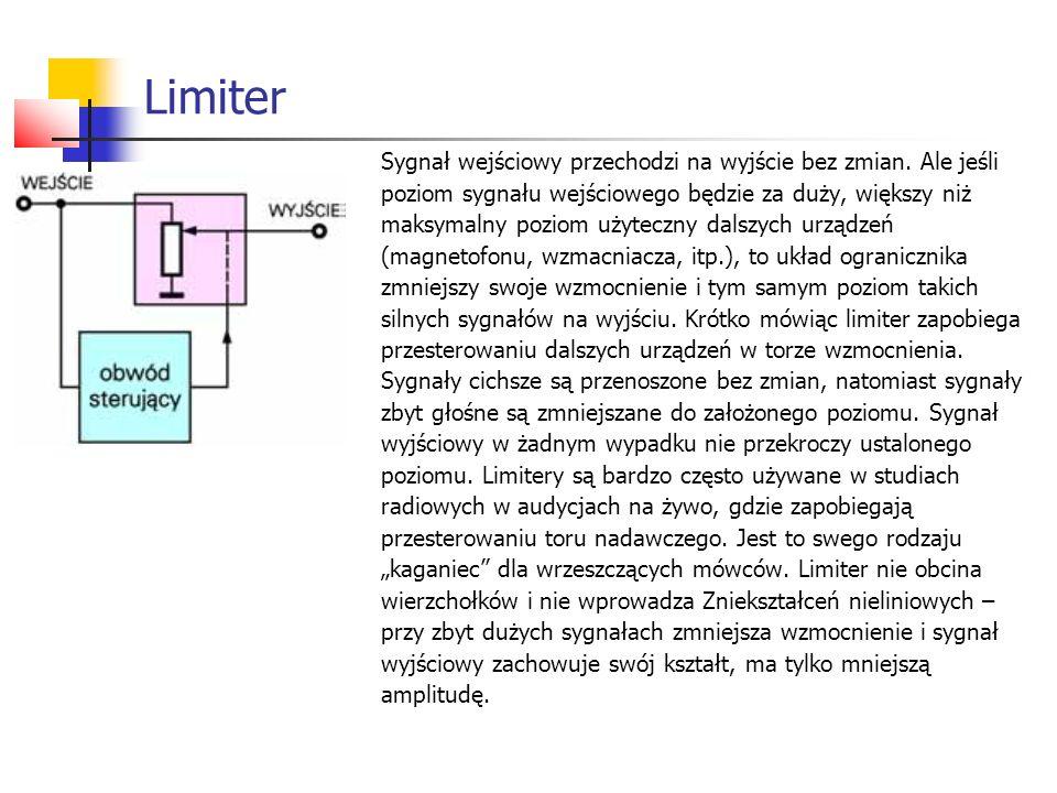 Sygnał wejściowy przechodzi na wyjście bez zmian. Ale jeśli poziom sygnału wejściowego będzie za duży, większy niż maksymalny poziom użyteczny dalszyc