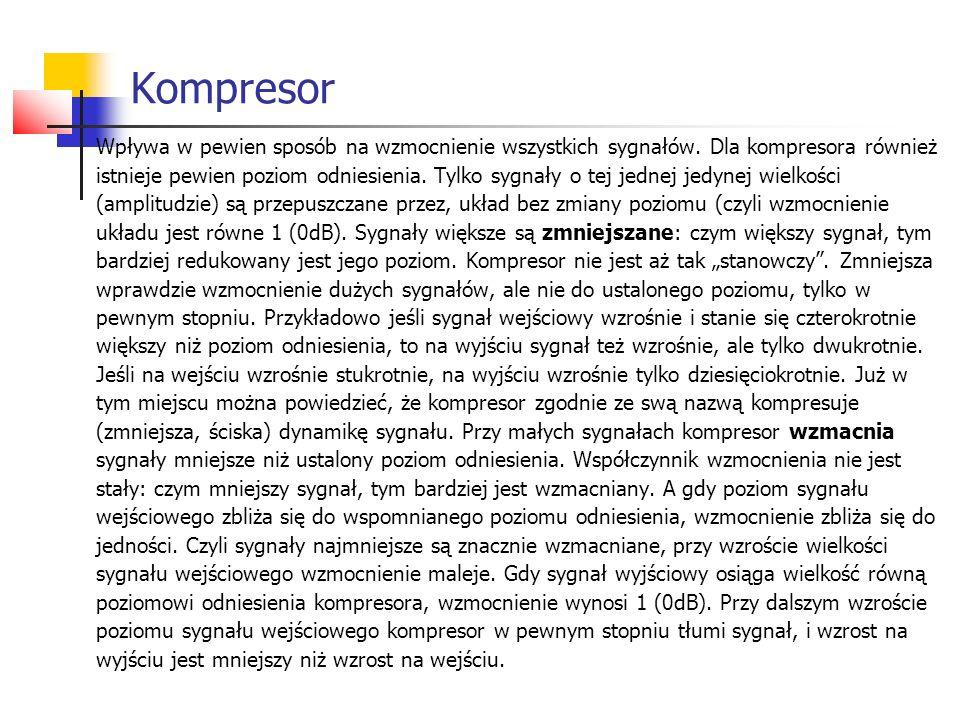 Kompresor Wpływa w pewien sposób na wzmocnienie wszystkich sygnałów. Dla kompresora również istnieje pewien poziom odniesienia. Tylko sygnały o tej je
