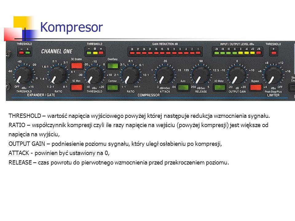Kompresor THRESHOLD – wartość napięcia wyjściowego powyżej której następuje redukcja wzmocnienia sygnału. RATIO – współczynnik kompresji czyli ile raz