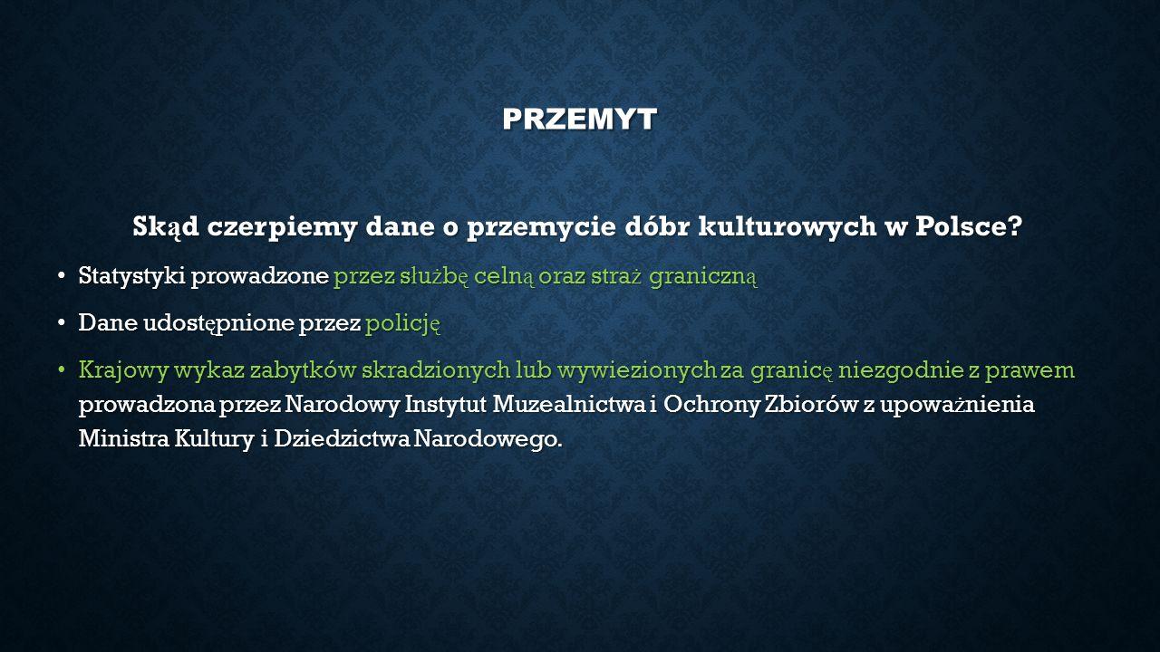 PRZEMYT Sk ą d czerpiemy dane o przemycie dóbr kulturowych w Polsce? Statystyki prowadzone przez s ł u ż b ę celn ą oraz stra ż graniczn ą Statystyki