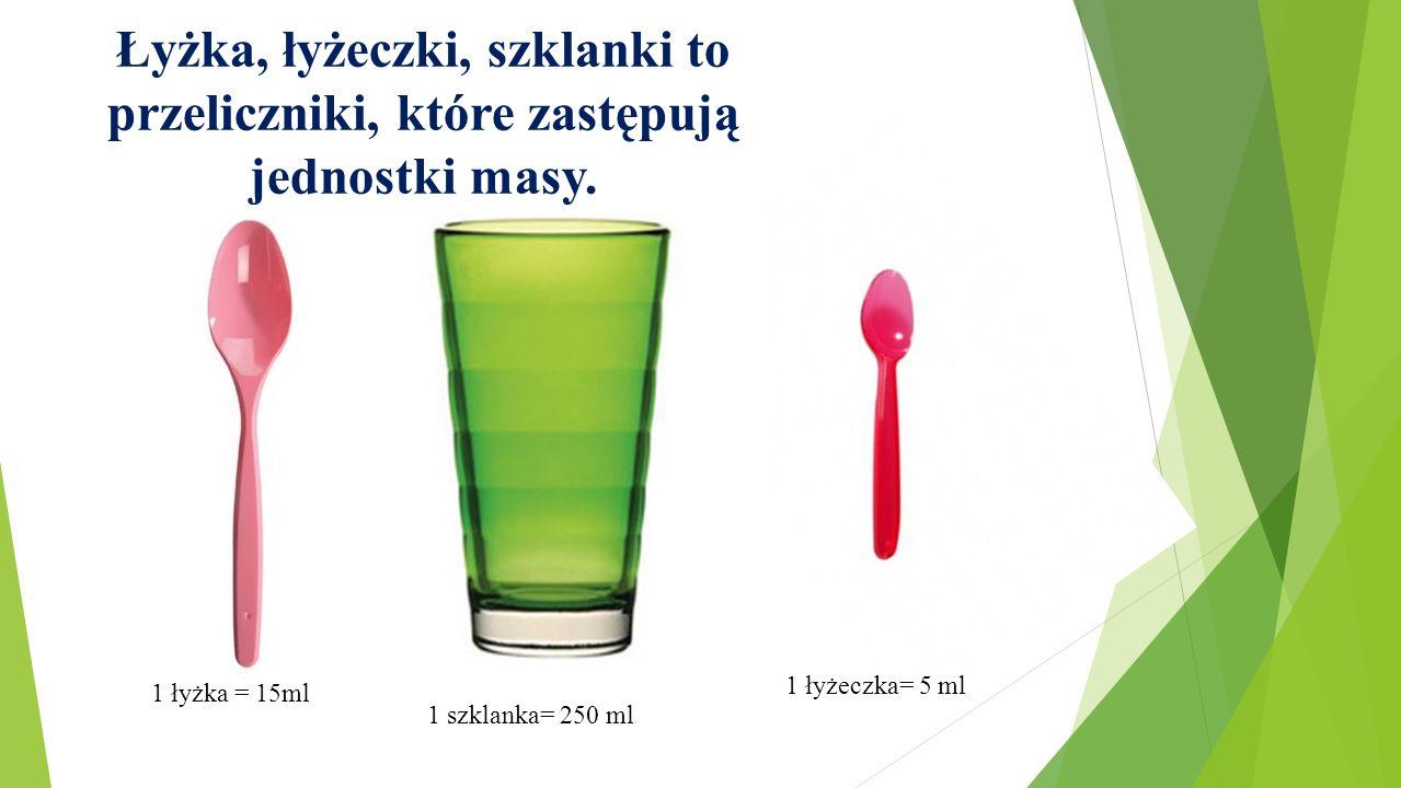 Łyżka, łyżeczki, szklanki to przeliczniki, które zastępują jednostki masy. 1 łyżka = 15ml 1 szklanka= 250 ml 1 łyżeczka= 5 ml