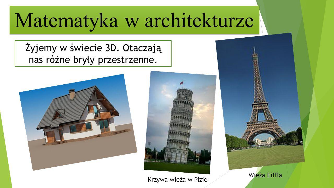 Matematyka w architekturze Żyjemy w świecie 3D. Otaczają nas różne bryły przestrzenne. Wieża Eiffla Krzywa wieża w Pizie