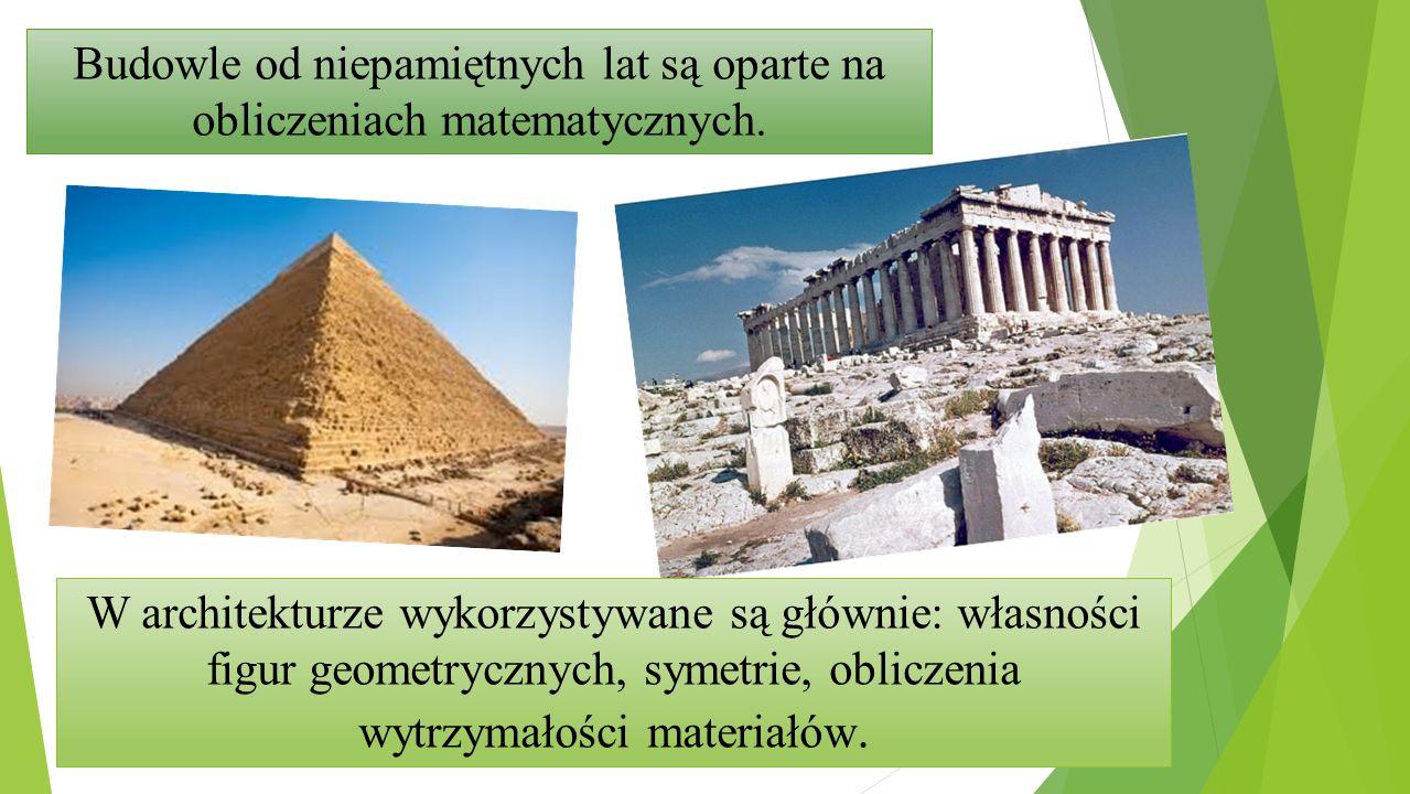Budowle od niepamiętnych lat są oparte na obliczeniach matematycznych. W architekturze wykorzystywane są głównie: własności figur geometrycznych, syme