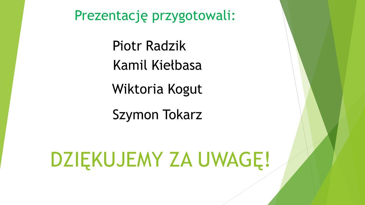 DZIĘKUJEMY ZA UWAGĘ! Prezentację przygotowali: Kamil Kiełbasa Wiktoria Kogut Piotr Radzik Szymon Tokarz