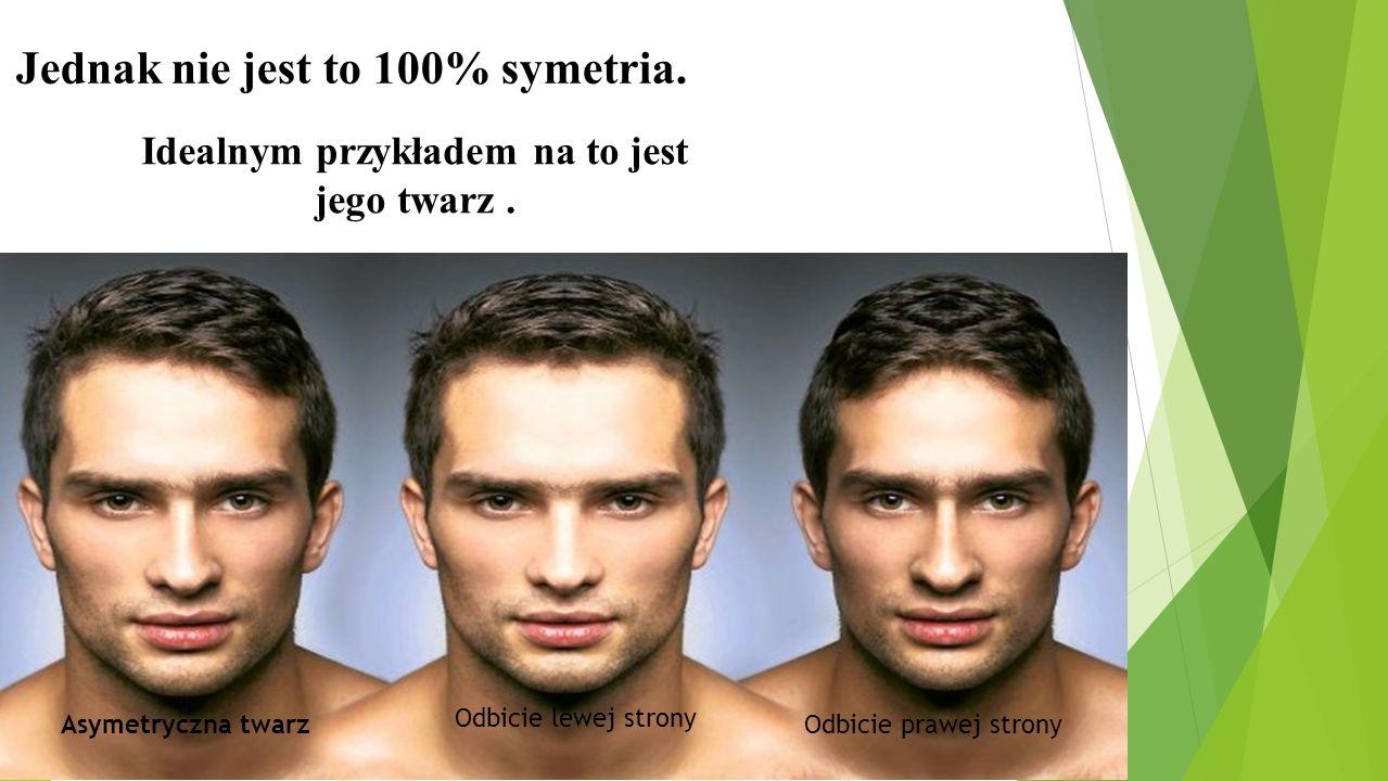 Jednak nie jest to 100% symetria. Idealnym przykładem na to jest jego twarz. Asymetryczna twarz Odbicie lewej strony Odbicie prawej strony