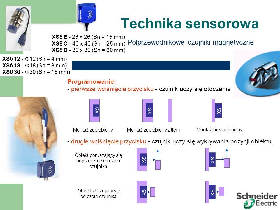 Technika sensorowa Półprzewodnikowe czujniki magnetyczne XS6 12 -  12 (Sn = 4 mm) XS6 18 -  18 (Sn = 8 mm) XS6 30 -  30 (Sn = 15 mm) XS8 E - 26 x 26 (Sn = 15 mm) XS8 C - 40 x 40 (Sn = 25 mm) XS8 D - 80 x 80 (Sn = 60 mm) Obiekt poruszający się poprzecznie do czoła czujnika Programowanie: - pierwsze wciśnięcie przycisku - czujnik uczy się otoczenia - drugie wciśnięcie przycisku - czujnik uczy się wykrywania pozycji obiektu XS 8 Montaż zagłębiony XS 8 Montaż zagłębiony z tłem XS 8 Montaż niezagłębiony XS 8 Obiekt zbliżający się do czoła czujnika