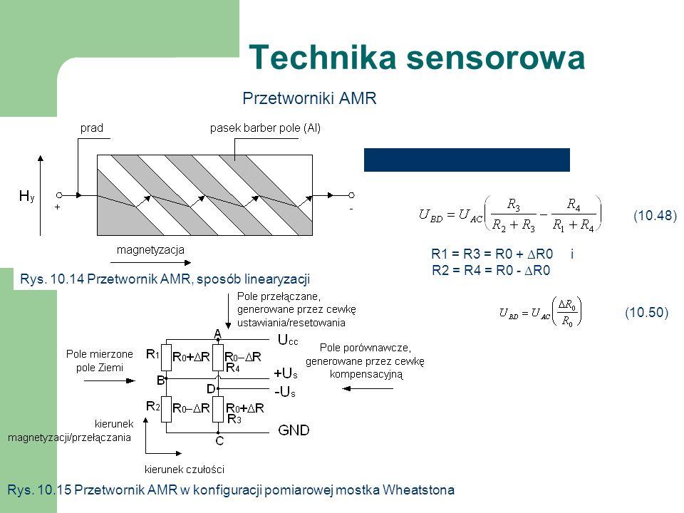 Technika sensorowa Przetworniki AMR Rys. 10.14 Przetwornik AMR, sposób linearyzacji Rys. 10.15 Przetwornik AMR w konfiguracji pomiarowej mostka Wheats