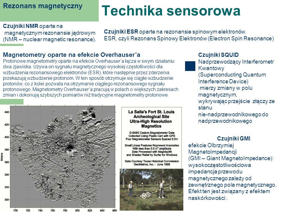 Technika sensorowa Rezonans magnetyczny Czujniki NMR oparte na magnetycznym rezonansie jądrowym (NMR – nuclear magnetic resonance). Czujniki ESR opart