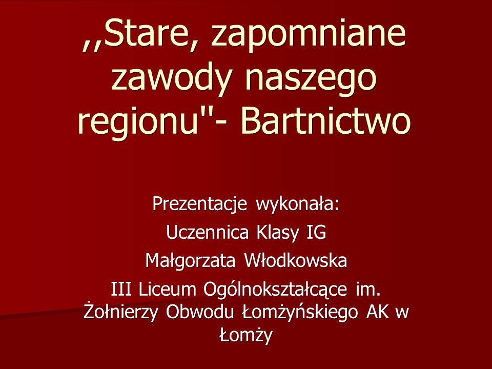 ,,Stare, zapomniane zawody naszego regionu - Bartnictwo Prezentacje wykonała: Uczennica Klasy IG Małgorzata Włodkowska III Liceum Ogólnokształcące im.