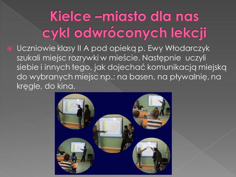  Uczniowie klasy II A pod opieką p. Ewy Włodarczyk szukali miejsc rozrywki w mieście. Następnie uczyli siebie i innych tego, jak dojechać komunikacją