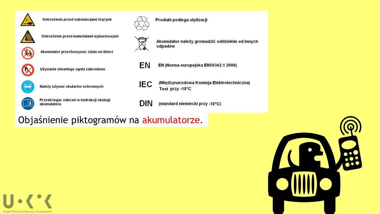 Objaśnienie piktogramów na akumulatorze.