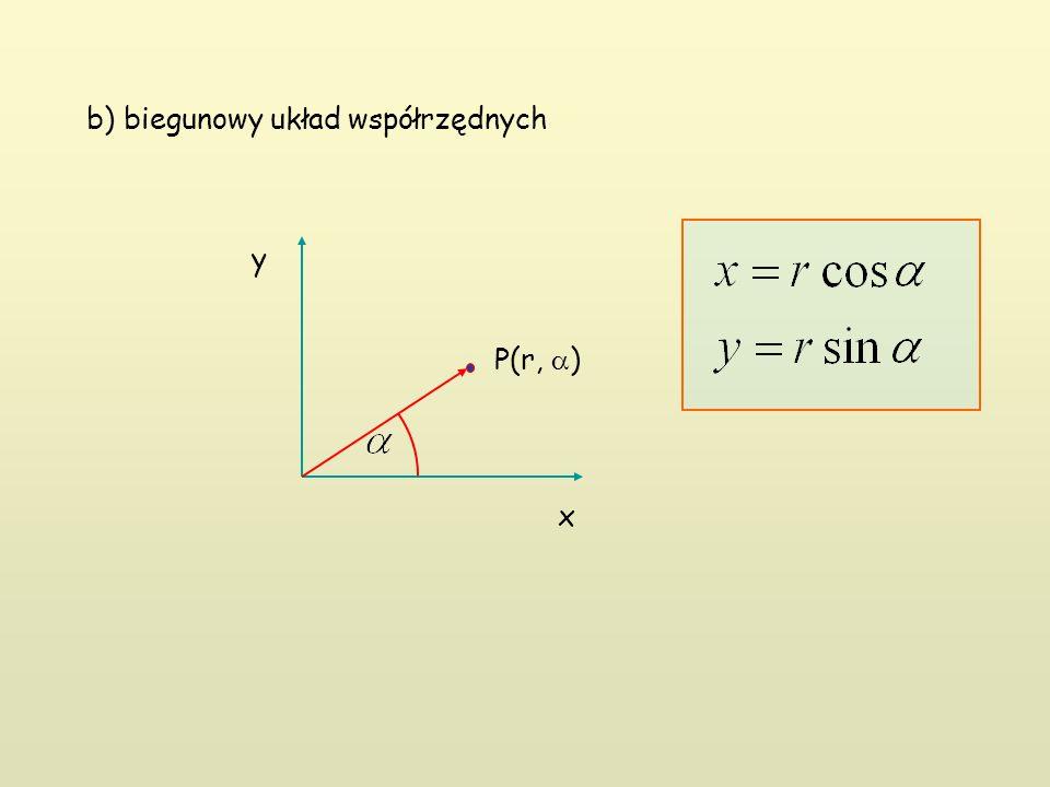 b) biegunowy układ współrzędnych P(r,  ) x y