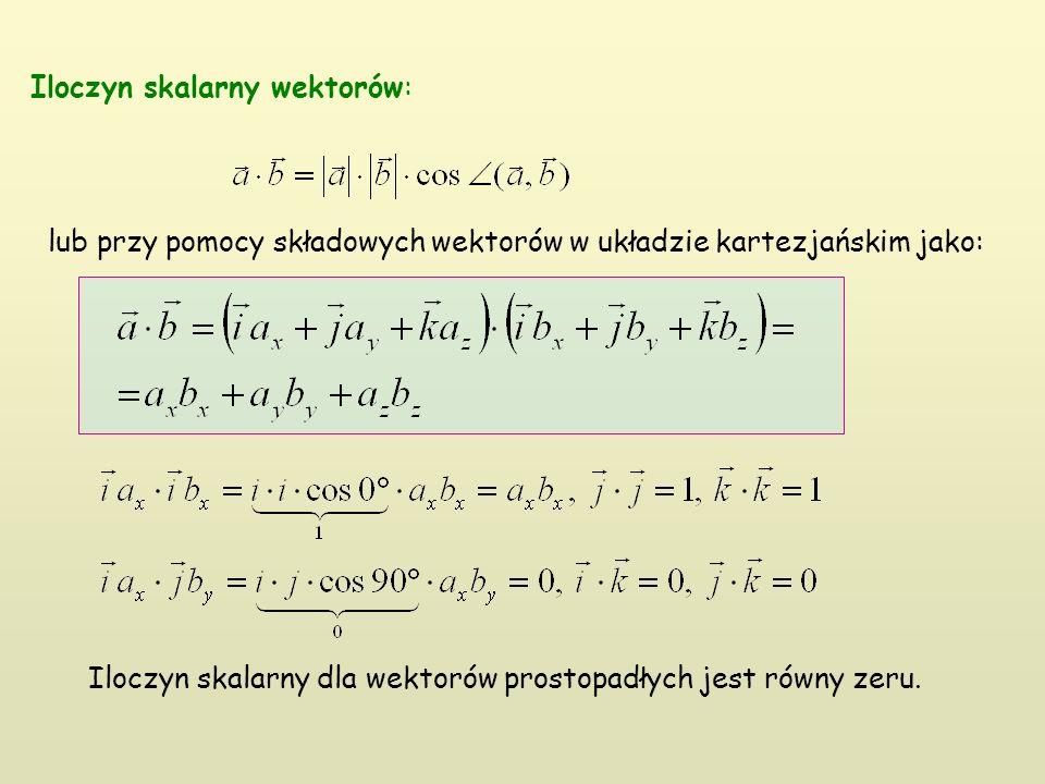 Iloczyn skalarny wektorów: lub przy pomocy składowych wektorów w układzie kartezjańskim jako: Iloczyn skalarny dla wektorów prostopadłych jest równy zeru.