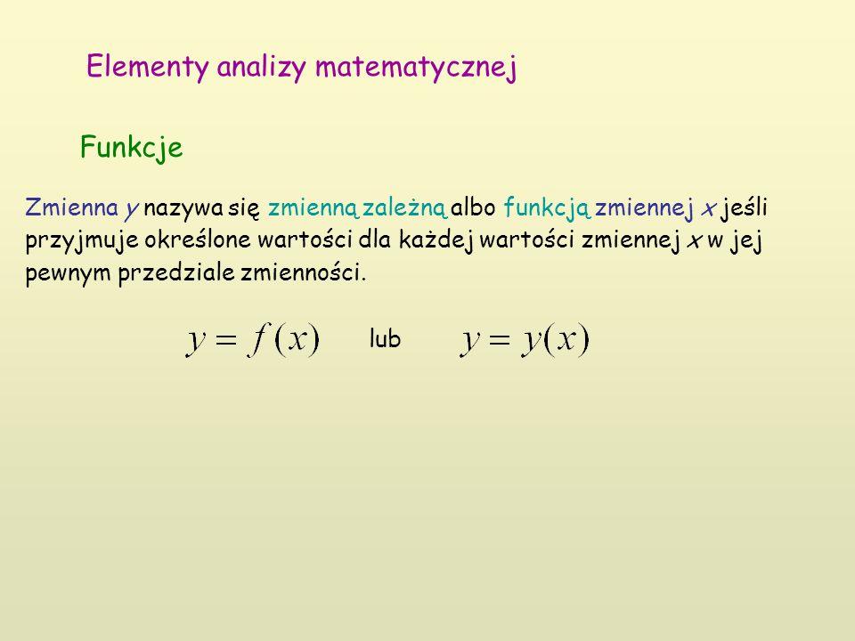 Elementy analizy matematycznej Funkcje Zmienna y nazywa się zmienną zależną albo funkcją zmiennej x jeśli przyjmuje określone wartości dla każdej wart