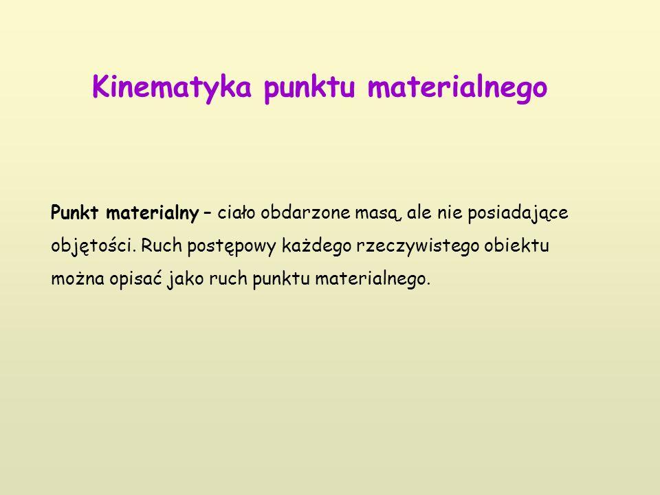 Kinematyka punktu materialnego Punkt materialny – ciało obdarzone masą, ale nie posiadające objętości. Ruch postępowy każdego rzeczywistego obiektu mo