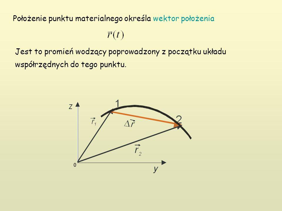 Jest to promień wodzący poprowadzony z początku układu współrzędnych do tego punktu. Położenie punktu materialnego określa wektor położenia