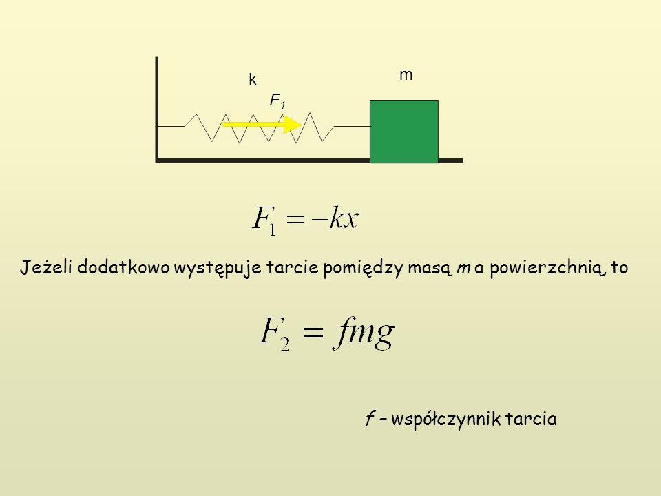 k m F1F1 Jeżeli dodatkowo występuje tarcie pomiędzy masą m a powierzchnią, to f – współczynnik tarcia