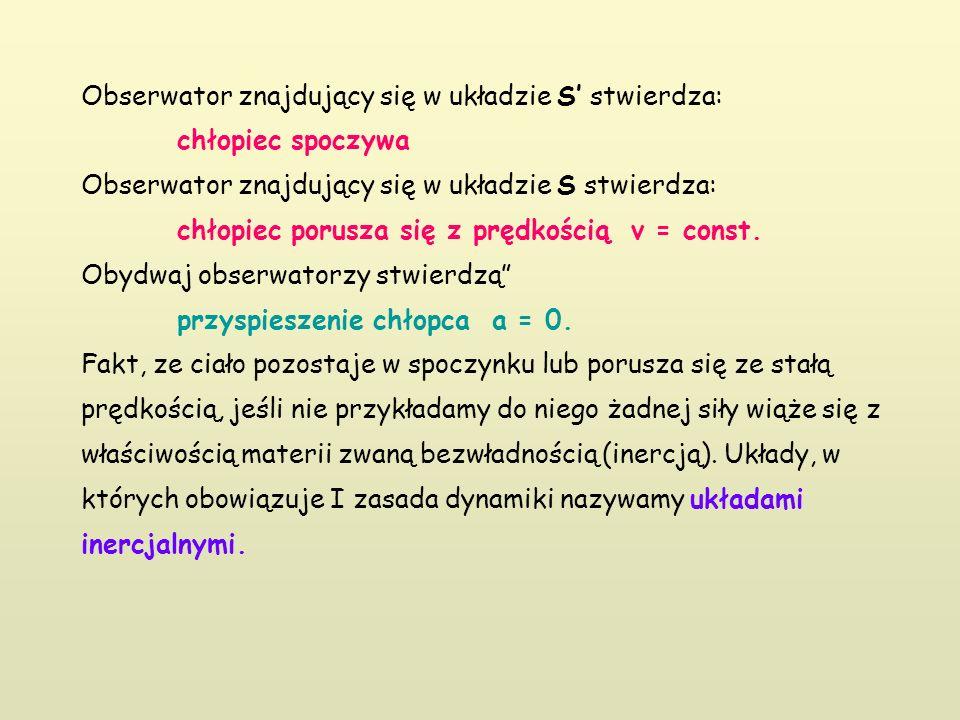 Obserwator znajdujący się w układzie S' stwierdza: chłopiec spoczywa Obserwator znajdujący się w układzie S stwierdza: chłopiec porusza się z prędkością v = const.