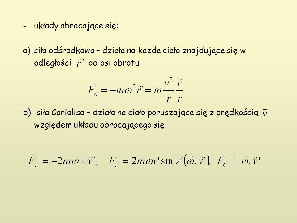 -układy obracające się: a)siła odśrodkowa – działa na każde ciało znajdujące się w odległości od osi obrotu b) siła Coriolisa – działa na ciało poruszające się z prędkością względem układu obracającego się.