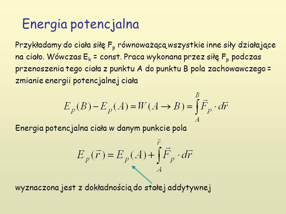 Energia potencjalna Przykładamy do ciała siłę F p równoważącą wszystkie inne siły działające na ciało.