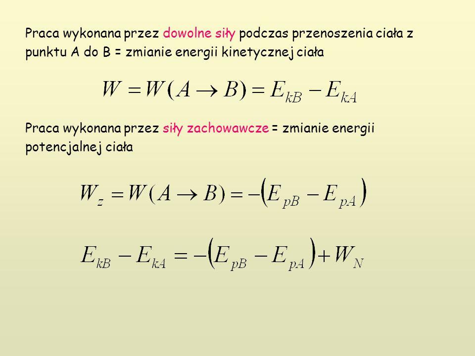 Praca wykonana przez dowolne siły podczas przenoszenia ciała z punktu A do B = zmianie energii kinetycznej ciała Praca wykonana przez siły zachowawcze = zmianie energii potencjalnej ciała