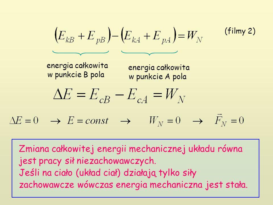 Zmiana całkowitej energii mechanicznej układu równa jest pracy sił niezachowawczych. Jeśli na ciało (układ ciał) działają tylko siły zachowawcze wówcz