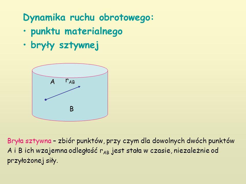 Dynamika ruchu obrotowego: punktu materialnego bryły sztywnej Bryła sztywna – zbiór punktów, przy czym dla dowolnych dwóch punktów A i B ich wzajemna odległość r AB jest stała w czasie, niezależnie od przyłożonej siły.
