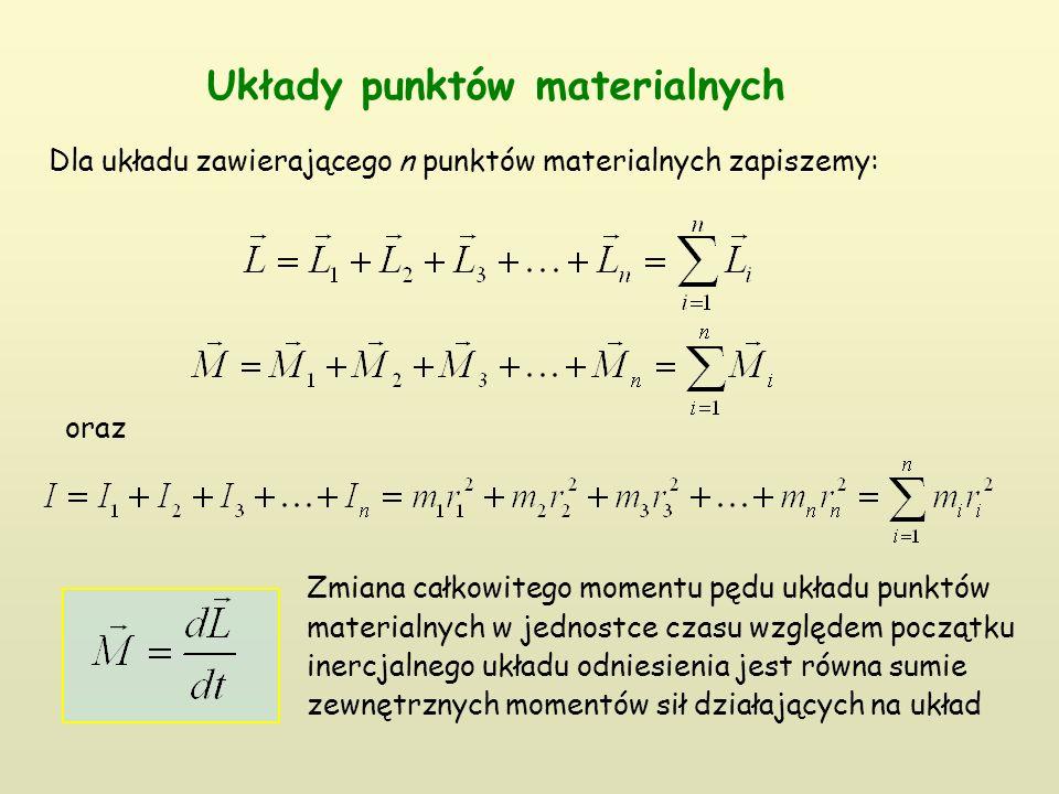 Układy punktów materialnych Dla układu zawierającego n punktów materialnych zapiszemy: oraz Zmiana całkowitego momentu pędu układu punktów materialnych w jednostce czasu względem początku inercjalnego układu odniesienia jest równa sumie zewnętrznych momentów sił działających na układ