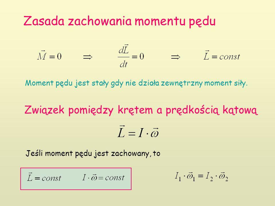 Zasada zachowania momentu pędu Moment pędu jest stały gdy nie działa zewnętrzny moment siły.