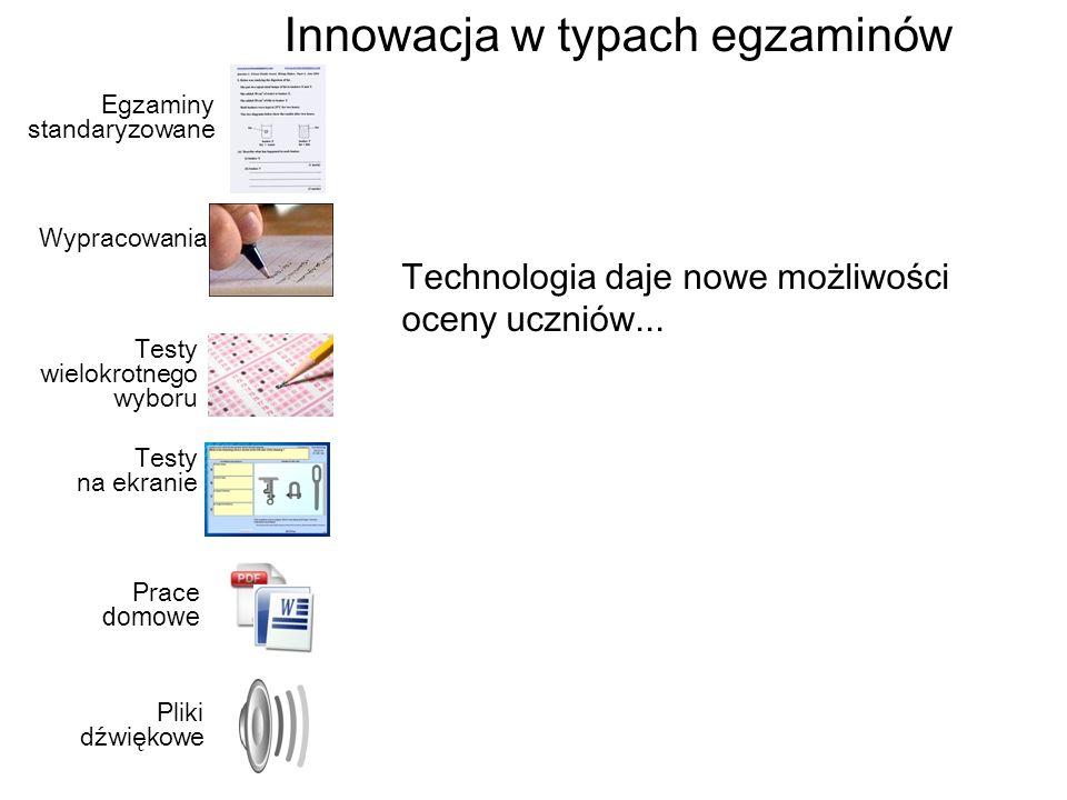 Wypracowania Testy wielokrotnego wyboru Testy na ekranie Prace domowe Pliki dźwiękowe Egzaminy standaryzowane Technologia daje nowe możliwości oceny uczniów...