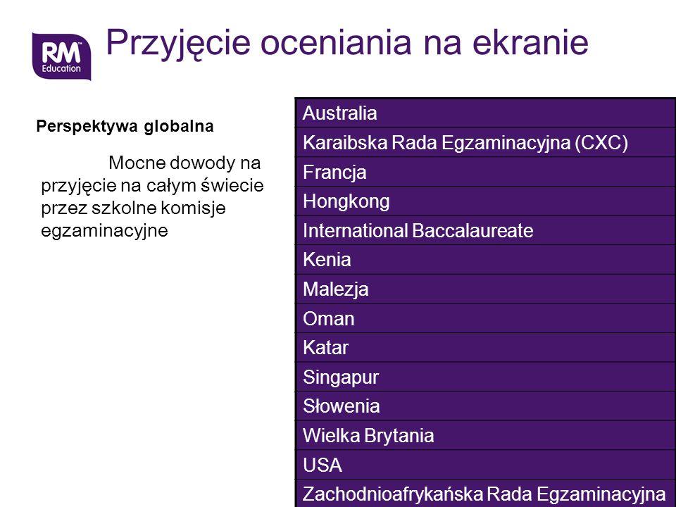 Przyjęcie oceniania na ekranie Mocne dowody na przyjęcie na całym świecie przez szkolne komisje egzaminacyjne Australia Karaibska Rada Egzaminacyjna (CXC) Francja Hongkong International Baccalaureate Kenia Malezja Oman Katar Singapur Słowenia Wielka Brytania USA Zachodnioafrykańska Rada Egzaminacyjna Perspektywa globalna