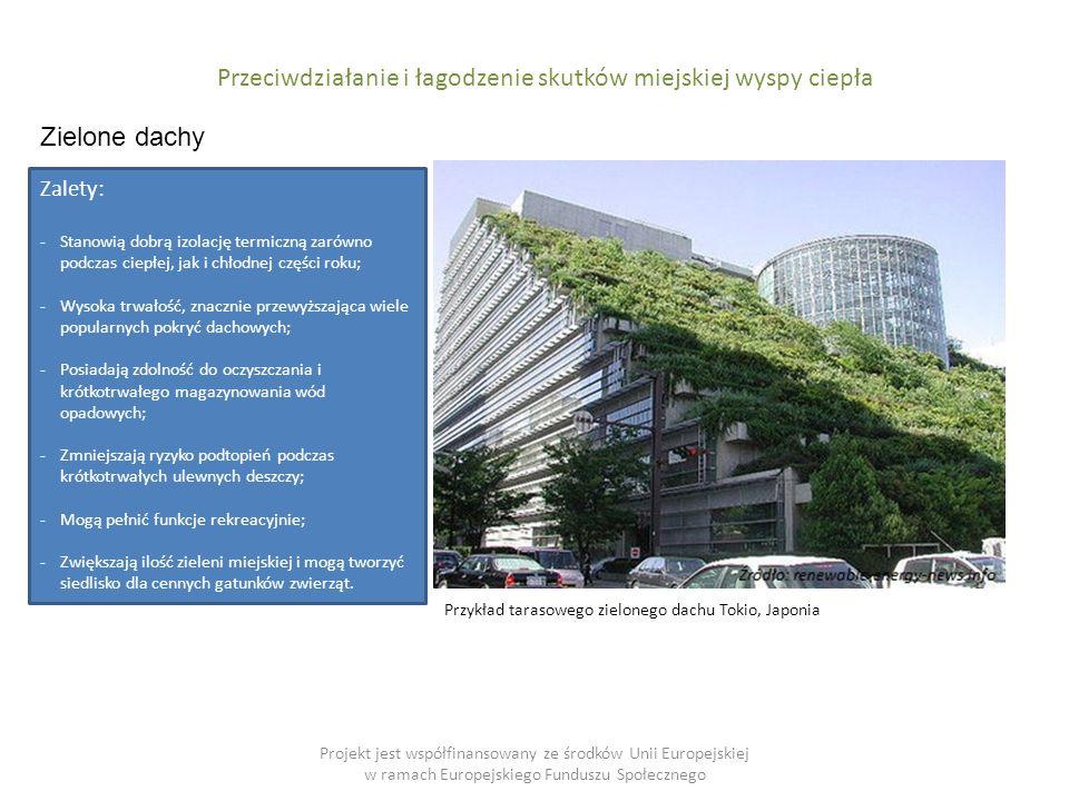 Projekt jest współfinansowany ze środków Unii Europejskiej w ramach Europejskiego Funduszu Społecznego Przeciwdziałanie i łagodzenie skutków miejskiej wyspy ciepła Zielone dachy Przykład tarasowego zielonego dachu Tokio, Japonia Zalety: -Stanowią dobrą izolację termiczną zarówno podczas ciepłej, jak i chłodnej części roku; -Wysoka trwałość, znacznie przewyższająca wiele popularnych pokryć dachowych; -Posiadają zdolność do oczyszczania i krótkotrwałego magazynowania wód opadowych; -Zmniejszają ryzyko podtopień podczas krótkotrwałych ulewnych deszczy; -Mogą pełnić funkcje rekreacyjnie; -Zwiększają ilość zieleni miejskiej i mogą tworzyć siedlisko dla cennych gatunków zwierząt.