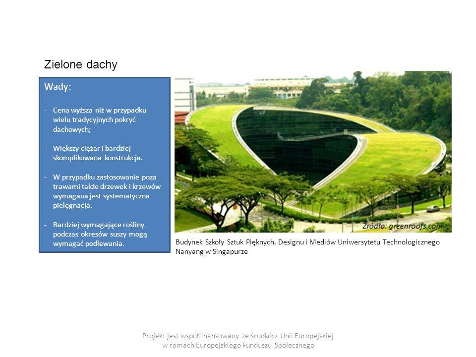 Projekt jest współfinansowany ze środków Unii Europejskiej w ramach Europejskiego Funduszu Społecznego Budynek Szkoły Sztuk Pięknych, Designu i Mediów Uniwersytetu Technologicznego Nanyang w Singapurze Zielone dachy Wady: -Cena wyższa niż w przypadku wielu tradycyjnych pokryć dachowych; -Większy ciężar i bardziej skomplikowana konstrukcja.