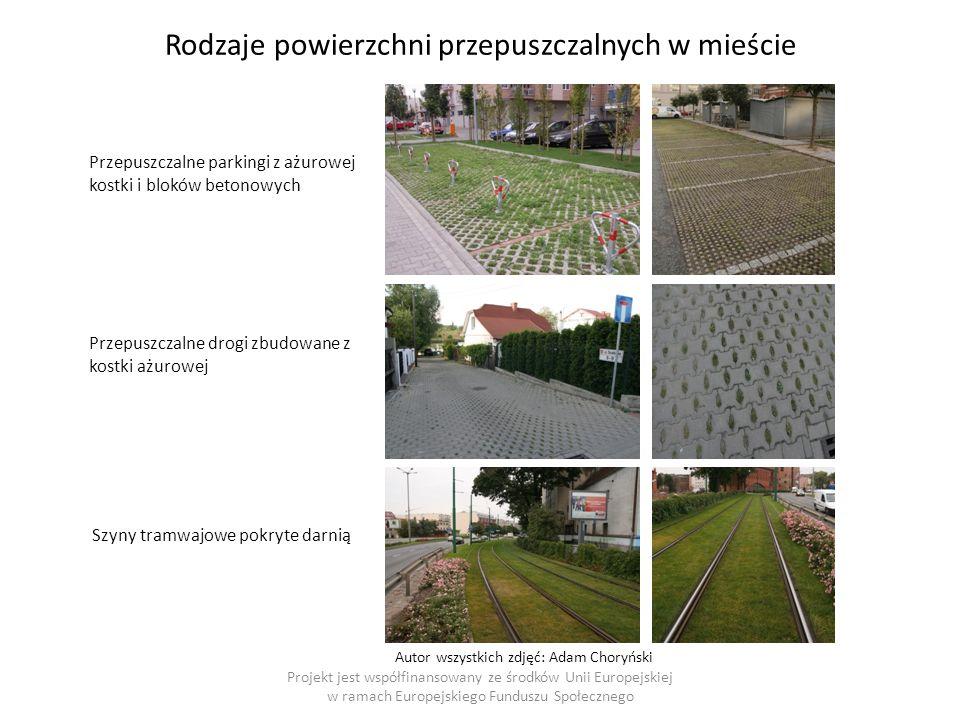 Projekt jest współfinansowany ze środków Unii Europejskiej w ramach Europejskiego Funduszu Społecznego Rodzaje powierzchni przepuszczalnych w mieście Przepuszczalne parkingi z ażurowej kostki i bloków betonowych Przepuszczalne drogi zbudowane z kostki ażurowej Szyny tramwajowe pokryte darnią Autor wszystkich zdjęć: Adam Choryński