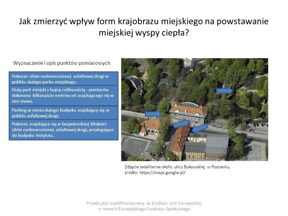 Projekt jest współfinansowany ze środków Unii Europejskiej w ramach Europejskiego Funduszu Społecznego Jak zmierzyć wpływ form krajobrazu miejskiego na powstawanie miejskiej wyspy ciepła.